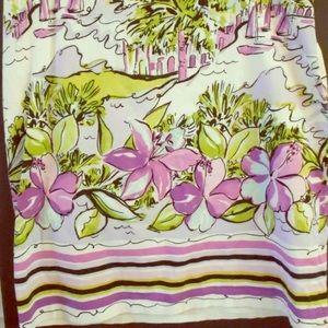KAREN KANE 8 Purple White Pencil Skirt Tropical